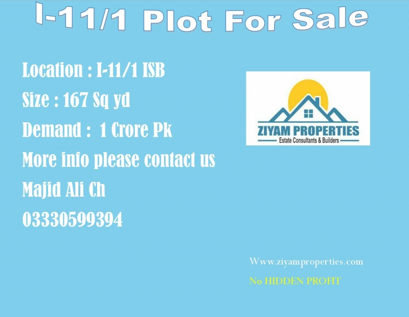 Plot Available for Sale I-11 Sector ISLAMABAD